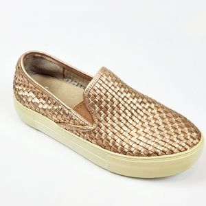 J/SLIDES Calina Woven Rose Gold Slip On Sneakers
